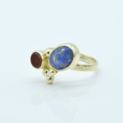 Aylas Agate and Lapis Lazuli ring - 21ct Gold plated brass - Handmade in Ottoman Style by Artisan