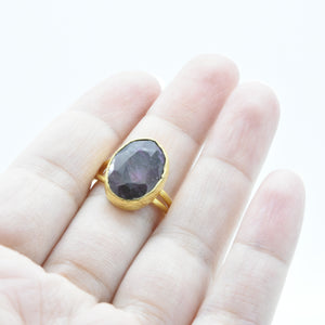 Aylas Ruby adjustable ring - 21ct Gold plated brass - Handmade in Ottoman Style by Artisan