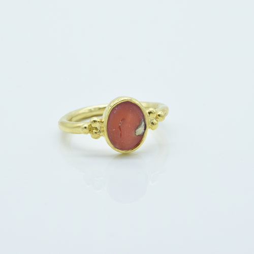 Aylas Red Coral ring - 21ct Gold plated brass - Handmade in Ottoman Style by Artisan