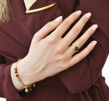 Aylas Agate with Persian Calligraphy ring - 21ct Gold plated brass - Handmade in Ottoman Style by Artisan