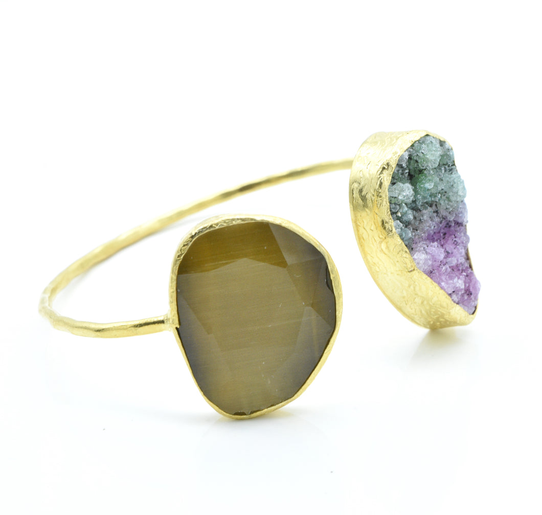 Aylas Cuff/Bracelet with Cat-Ee and Druzy stones -  21ct Gold Plated Brass  - Handmade in Ottoman Style by Artisan