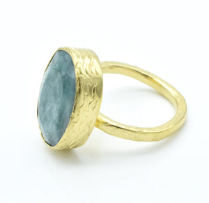 Aylas Emerald adjustable ring - 21ct Gold plated Brass - Handmade in Ottoman Style by Artisan