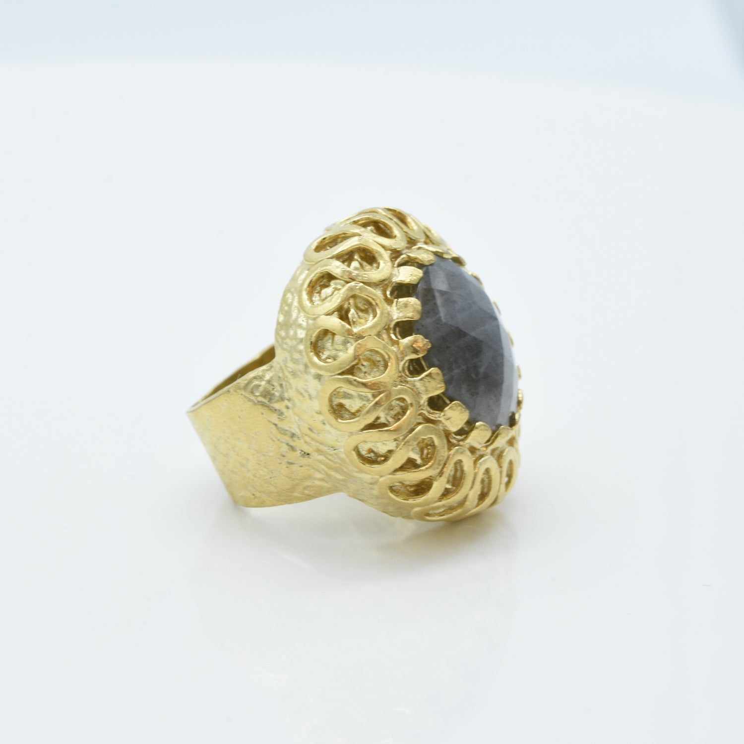 Aylas Labradorite ring - 21ct Gold plated brass - Handmade in Ottoman Style by Artisan