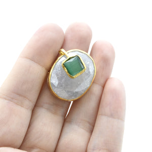 Aylas Crackled Zircon and Cat-Eye adjustable ring - 21ct Gold plated brass - Handmade in Ottoman Style by Artisan