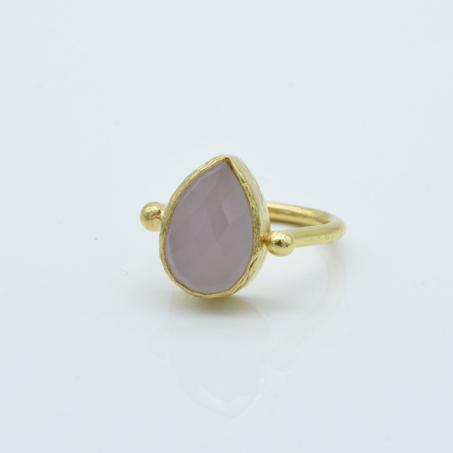 Aylas Rose Quartz adjustable ring - 21ct Gold plated brass - Handmade in Ottoman Style by Artisan