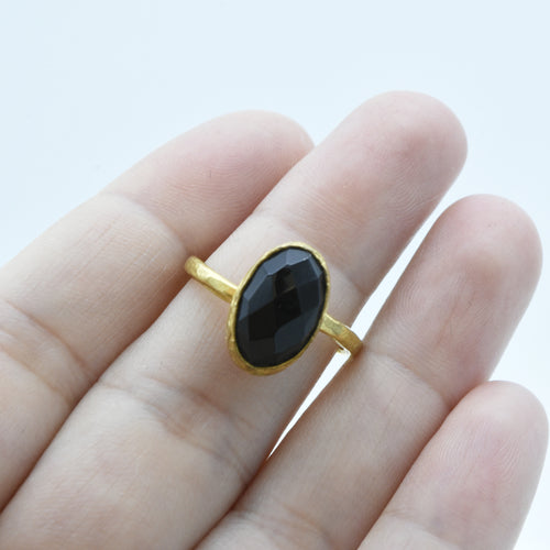 Aylas Onyx adjustable ring - 21ct Gold plated brass - Handmade in Ottoman Style by Artisan