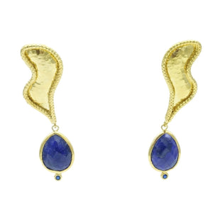 Aylas Sapphire earrings - 21ct Gold plated semi precious gemstone - Handmade