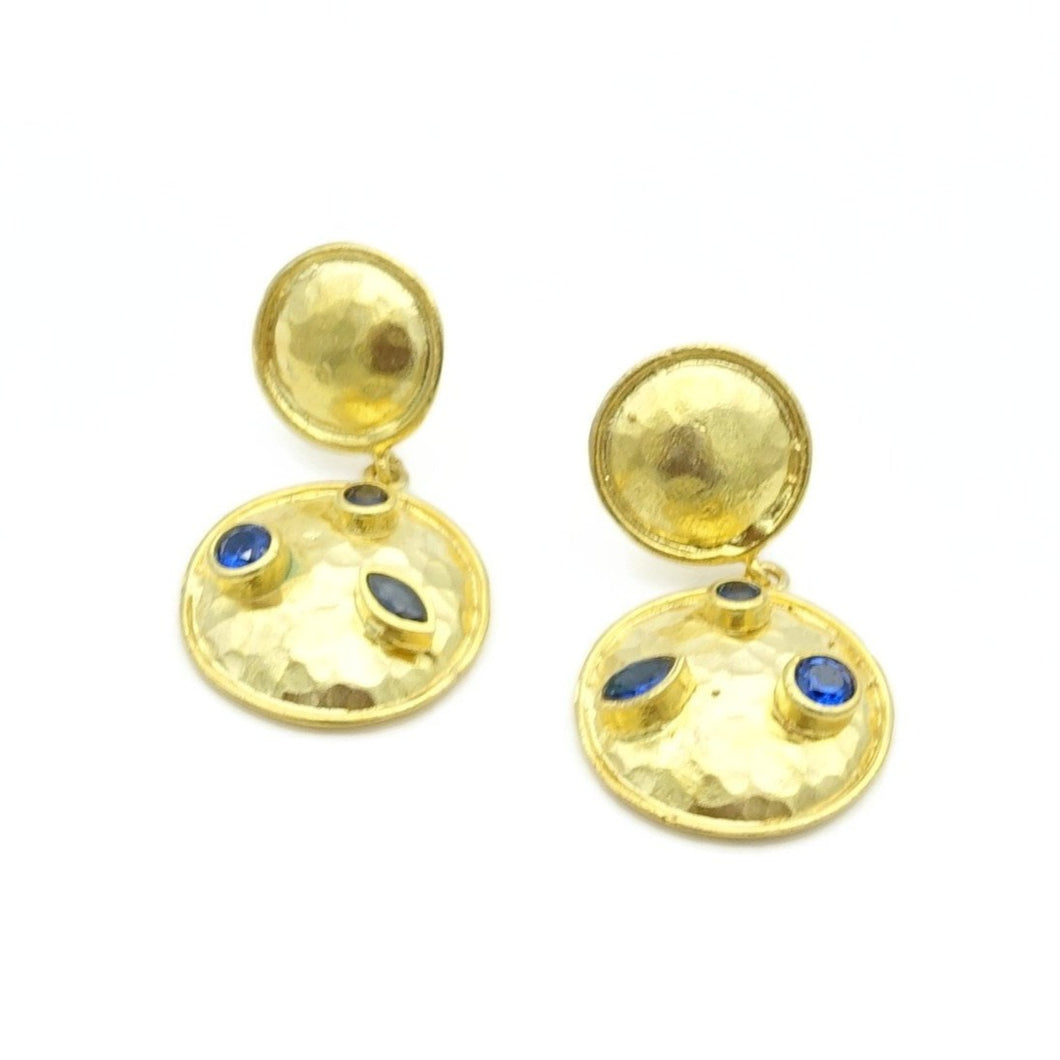 Aylas Zircon earrings - 21ct Gold plated semi precious gemstone - Handmade