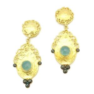 Aylas Chalcedony earrings - 21ct Gold plated semi precious gemstone - Handmade
