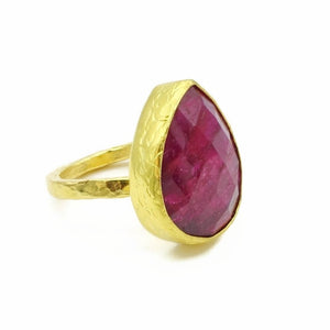 Aylas Ruby ring - 21ct Gold plated semi precious gemstone - Handmade in Ottoman Style