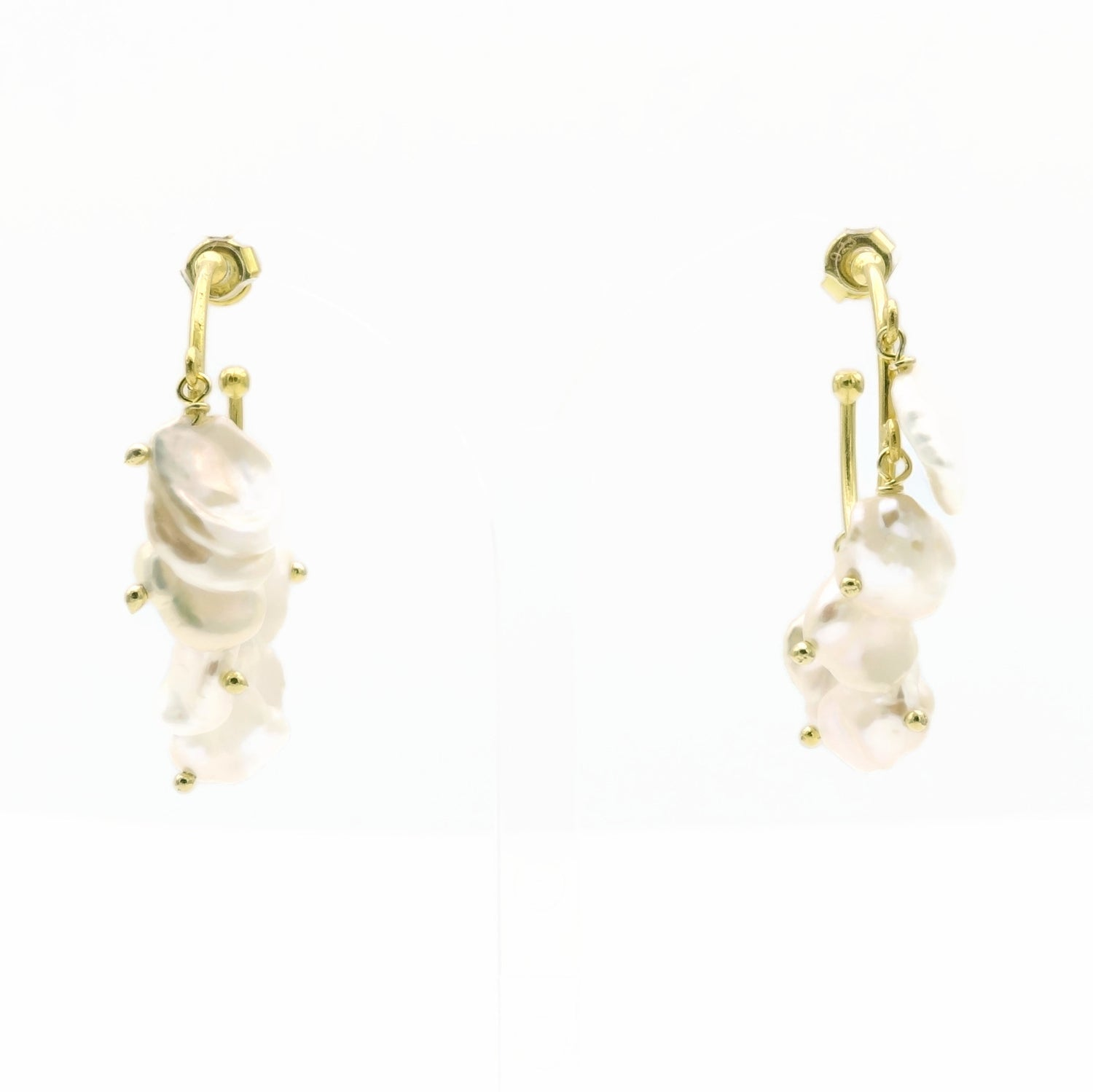 Aylas Pearl semi precious gemstone earrings - 21ct Gold plated 925 Silver handmade