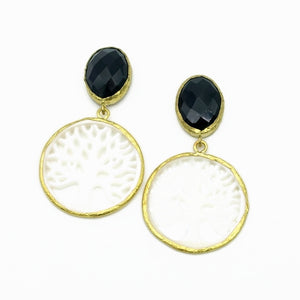 Aylas Onyx Pearl earrings - 21ct Gold plated semi precious gemstone - Handmade