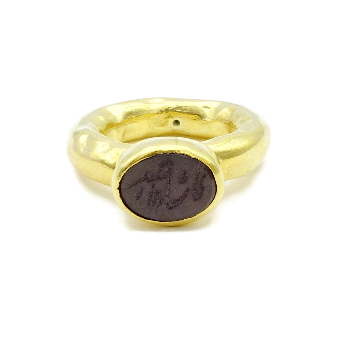 Aylas Agate Calligraphy Ring- 21ct Gold plated Sterling silver- Semi precious Gem stones