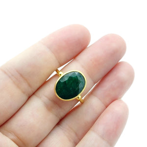 Aylas Emerald Ring- 21ct Gold plated Sterling silver- Semi precious Gem stones- Handmade