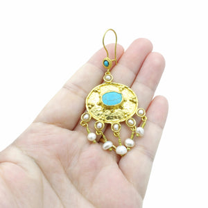 Aylas Turquoise Pearl earrings - 21ct Gold plated semi precious gemstone - Handmade