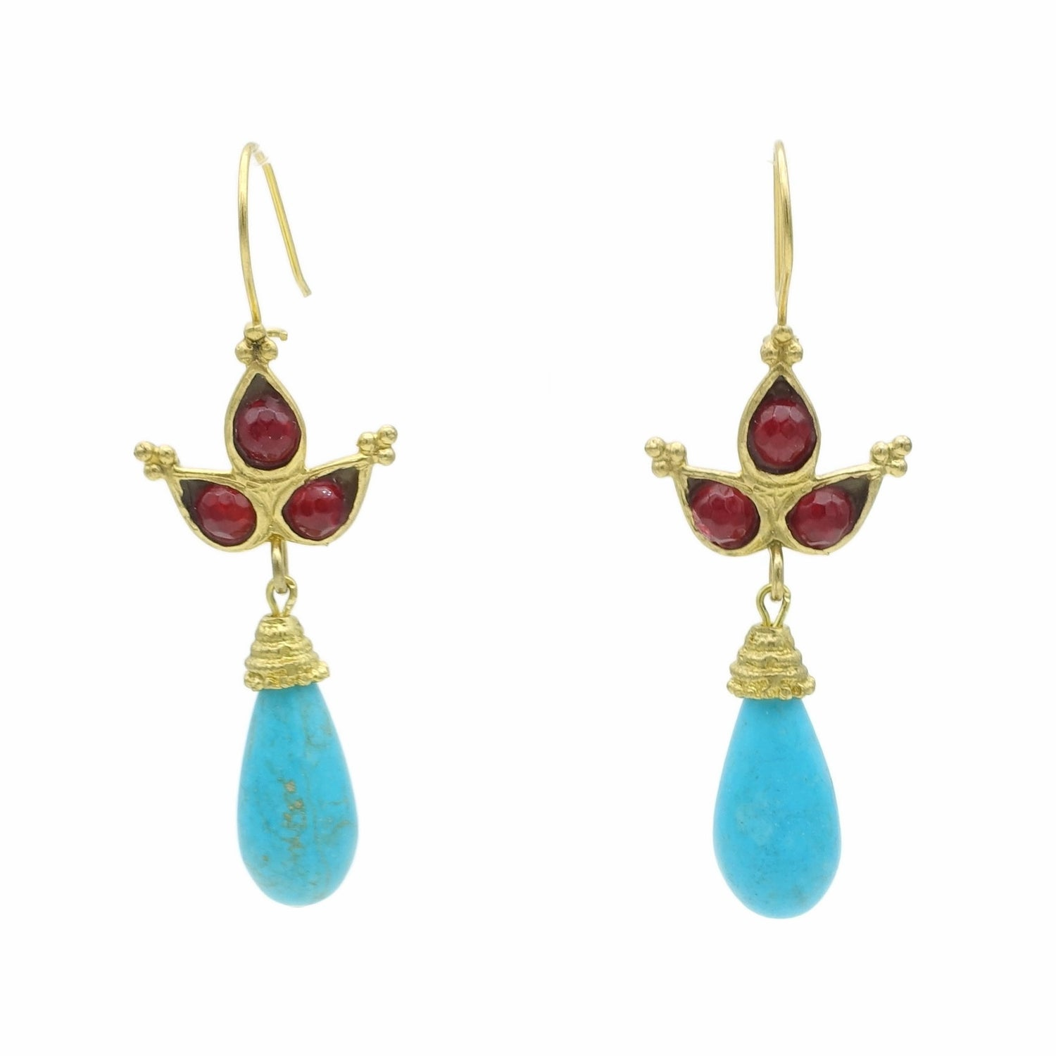Aylas Turquoise Agate earrings - 21ct Gold plated semi precious gemstone - Handmade