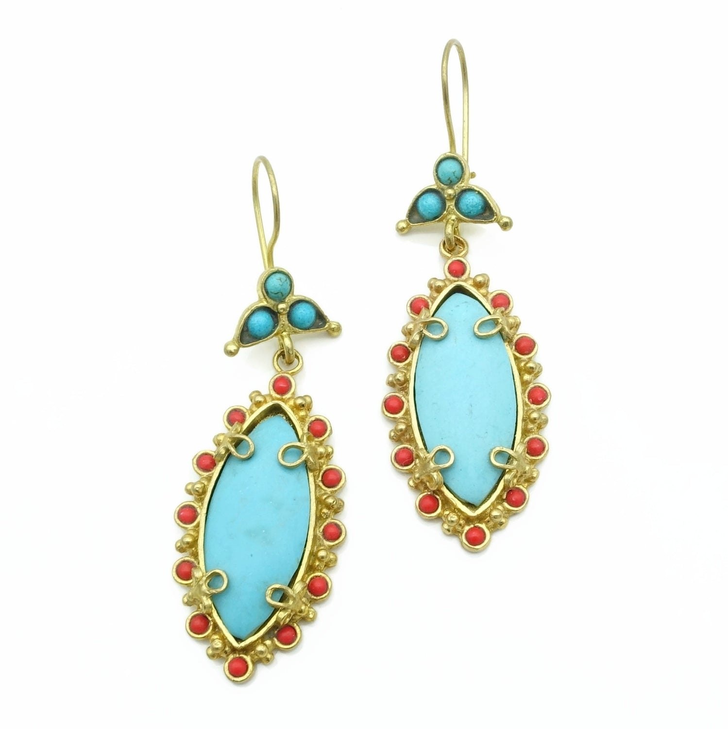 Aylas Turquoise Coral earrings - 21ct Gold plated semi precious gemstone - Handmade