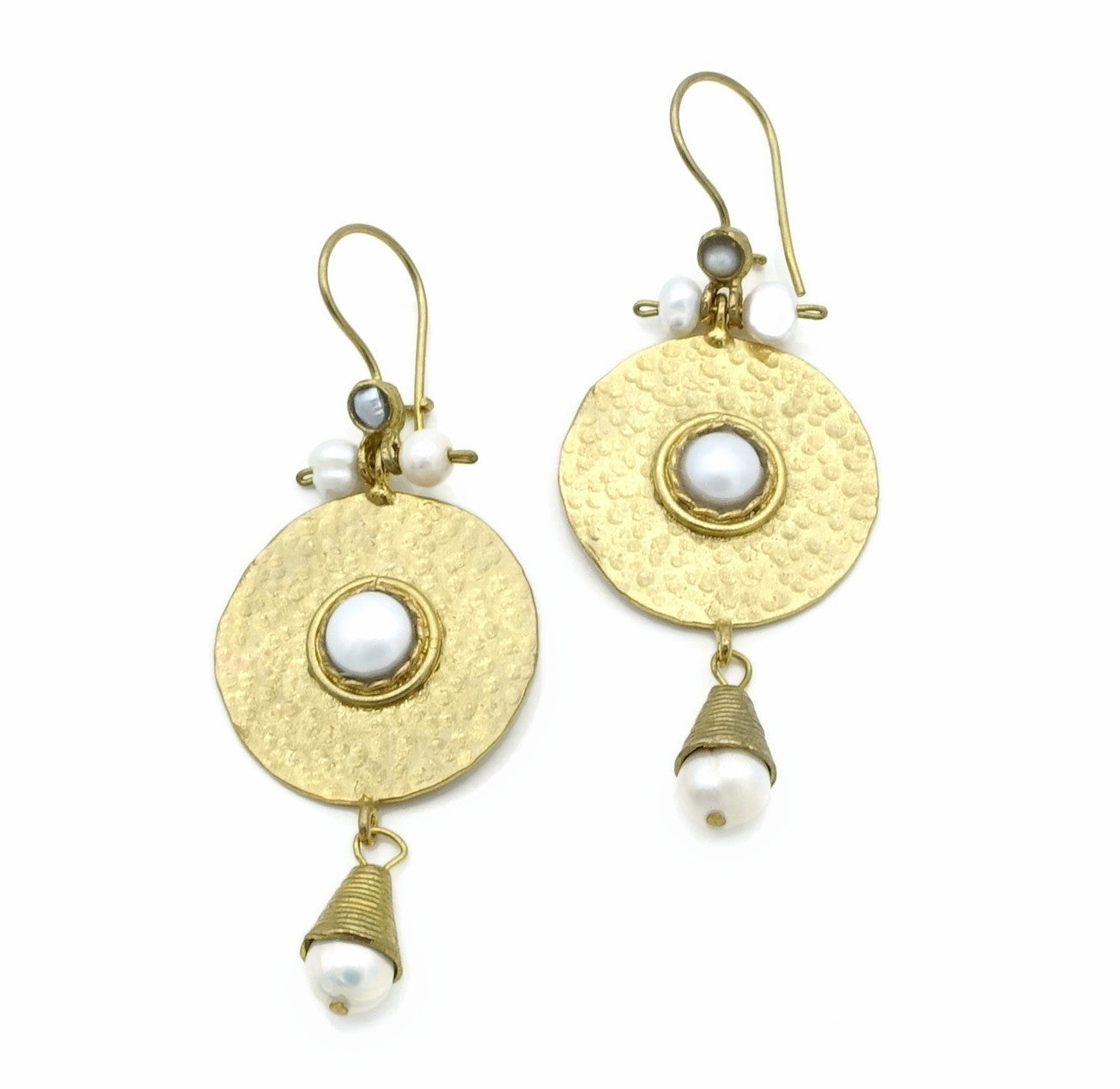 Aylas Pearl earrings - 21ct Gold plated semi precious gemstone - Handmade