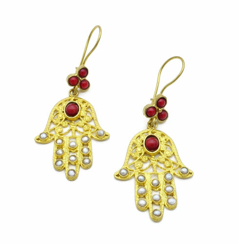 Aylas Pearl Red Coral earrings - 21ct Gold plated semi precious gemstone - Handmade