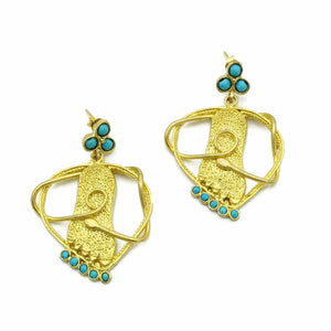 Aylas Turquoise earrings - 21ct Gold plated semi precious gemstone - Handmade