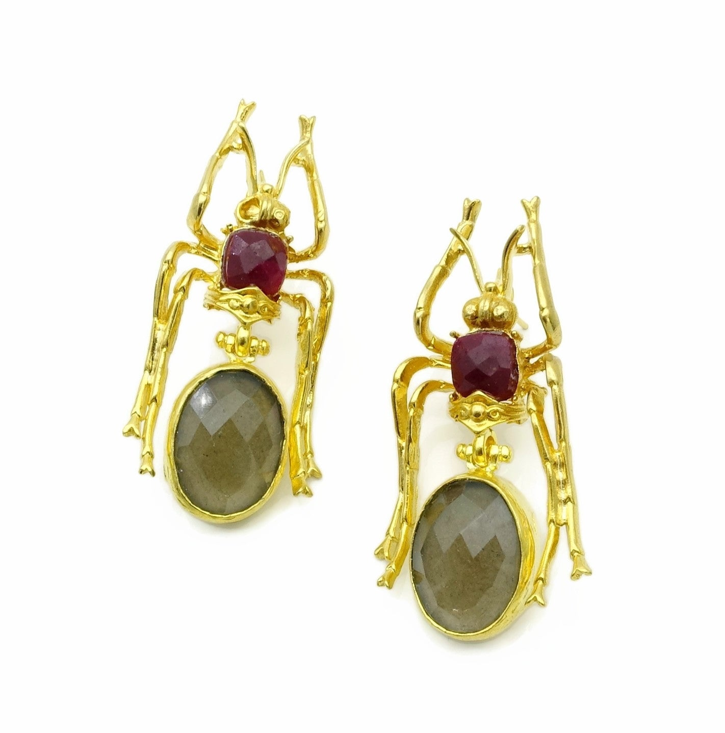 Aylas Smoky quartz Chalcedony earrings - 21ct Gold plated semi precious gemstone