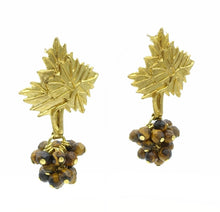 Aylas Tiger eye earrings - 21ct Gold plated semi precious gemstone - Handmade