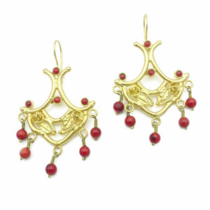 Aylas Red Coral earrings - 21ct Gold plated semi precious gemstone - Handmade