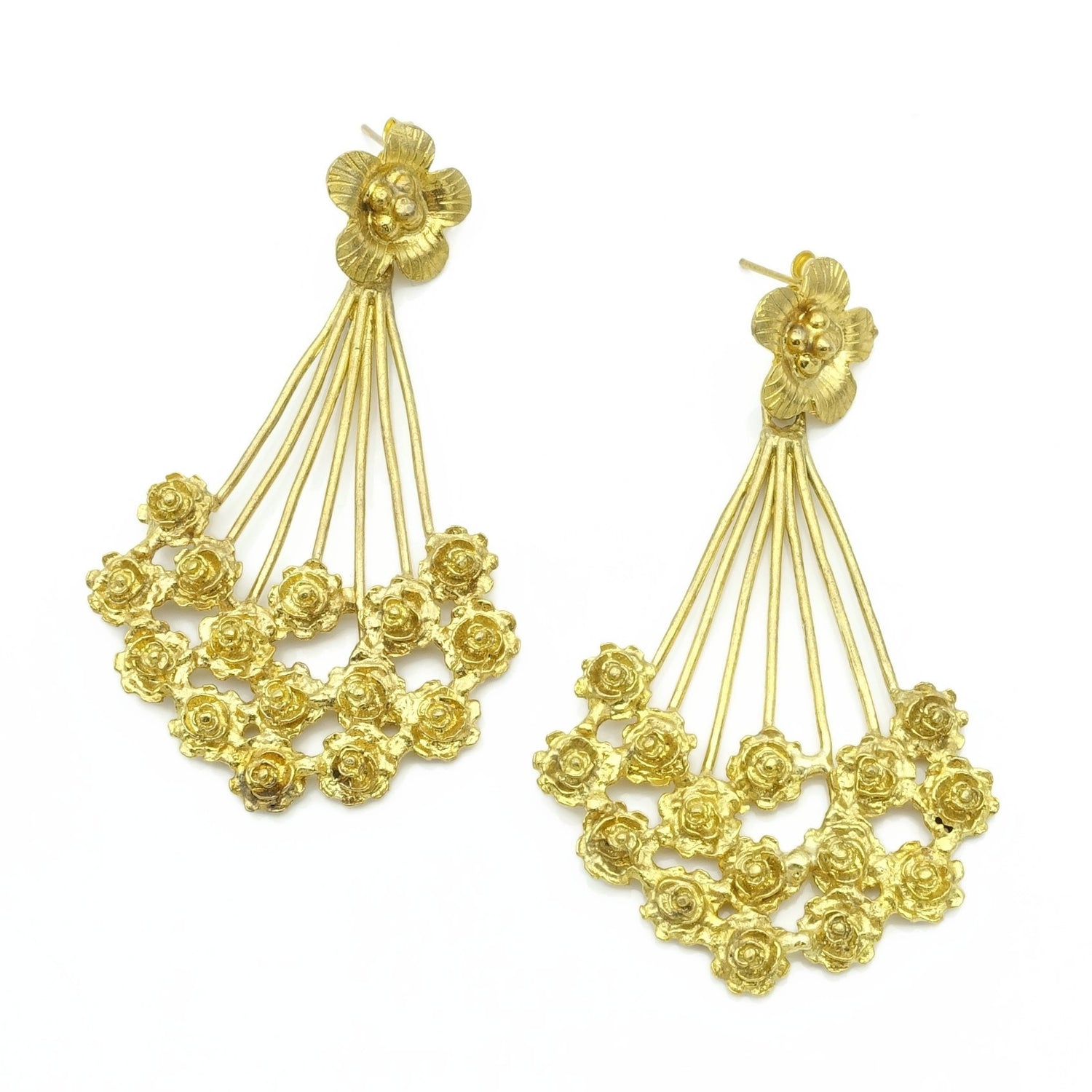 Aylas Flower Floral earrings - 21ct Gold plated  - Handmade in Ottoman style