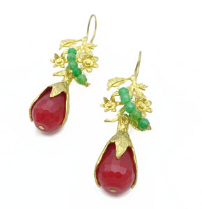 Aylas Agate earrings - 21ct Gold plated semi precious gemstone - Handmade