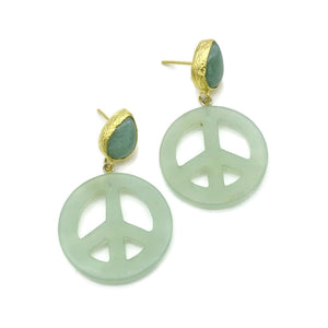 Aylas Jade, Agate semi precious gemstone earrings - 21ct Gold plated brass handmade- Peace