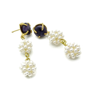 Aylas Pearl, Agate semi precious gemstone earrings - 21ct Gold plated handmade- Ottoman style