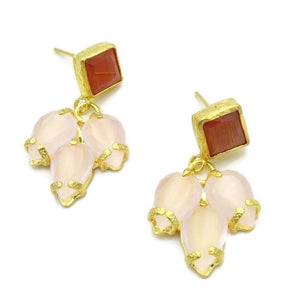 Aylas Cateye semi precious gemstone earrings - 21ct Gold plated handmade- Ottoman style