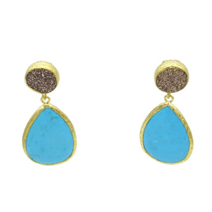 Aylas Turquoise semi precious gemstone earrings - 21ct Gold plated handmade