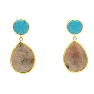 Aylas Turquoise Jasper semi precious gemstone earrings - 21ct Gold plated handmade
