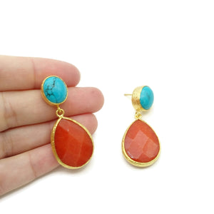 Aylas Turquoise Agate semi precious gemstone earrings - 21ct Gold plated handmade