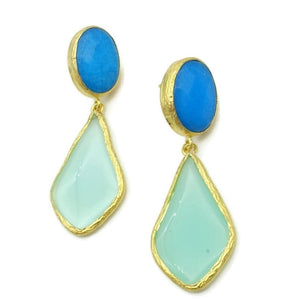Aylas Jade, Agate semi precious gemstone earrings - 21ct Gold plated handmade
