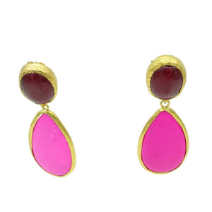 Aylas Agate, Howlite semi precious gemstone earrings - 21ct Gold plated handmade