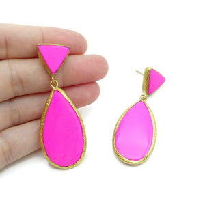 Aylas Howlite semi precious gemstone earrings - 21ct Gold plated handmade