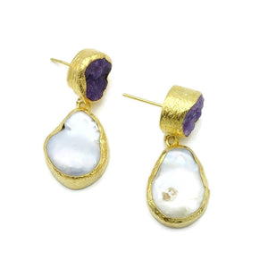 Aylas Pearl, Amethyst semi precious gemstone earrings - 21ct Gold plated handmade