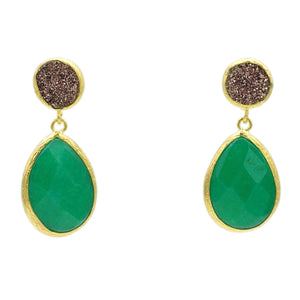 Aylas Druzy, Agate semi precious gemstone earrings - 21ct Gold plated handmade