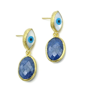 Aylas Crackled Zircon Evil eye semi precious gemstone earrings - 21ct Gold plated