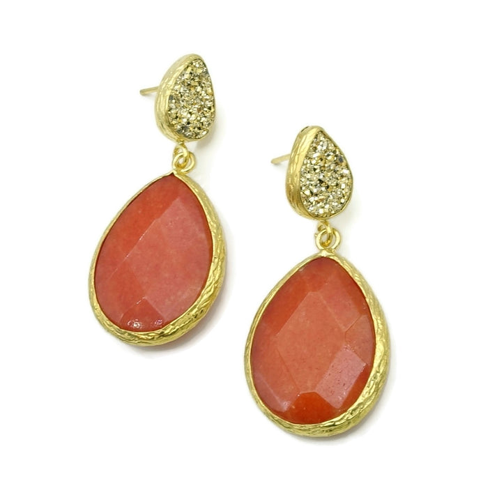 Aylas Druzy, Agate semi precious gemstone earrings - 21ct Gold plated- Handmade
