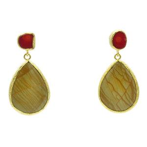 Aylas Jasper, Coral semi precious gemstone earrings - 21ct Gold plated- Handmade