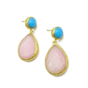 Aylas JTurquoise, Agate semi precious gemstone earrings - 21ct Gold plated- Handmade