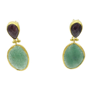 Aylas Chalcedony, Agate semi precious gemstone earrings - 21ct Gold plated- Handmade