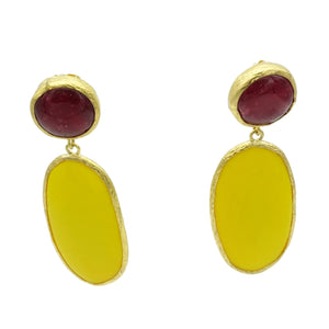 Aylas Agate semi precious gemstone earrings - 21ct Gold plated- Handmade