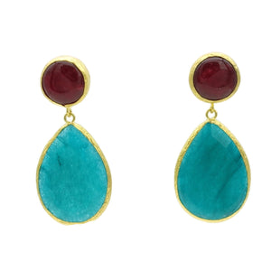 Aylas Agate, Jade semi precious gemstone earrings - 21ct Gold plated- Handmade