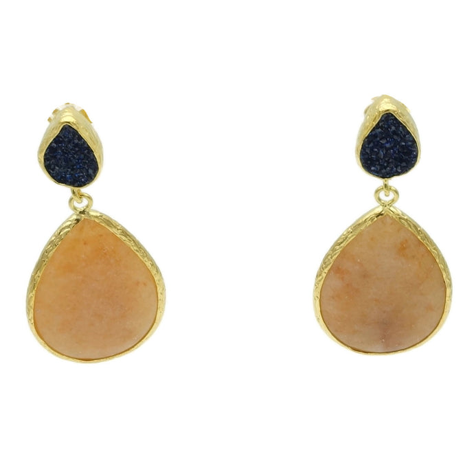 Aylas Agate, Druzy semi precious gemstone earrings - 21ct Gold plated- Handmade