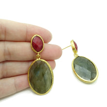 Aylas Jade, Labradorite semi precious gemstone earrings - 21ct Gold plated- Handmade