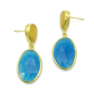 Aylas Jade, Agate semi precious gemstone earrings - 21ct Gold plated- Handmade